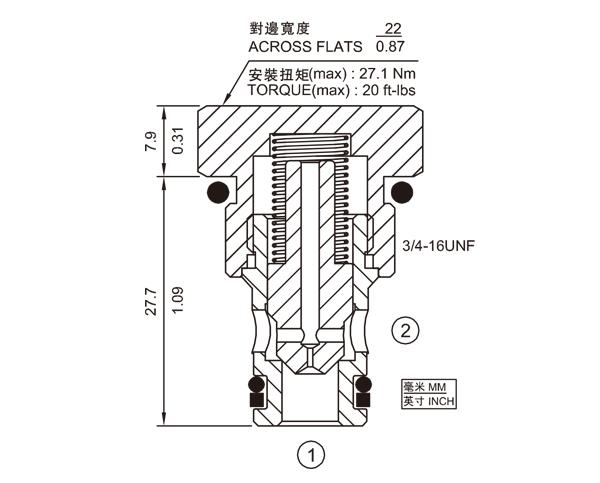 FC08-20F 单向节流阀