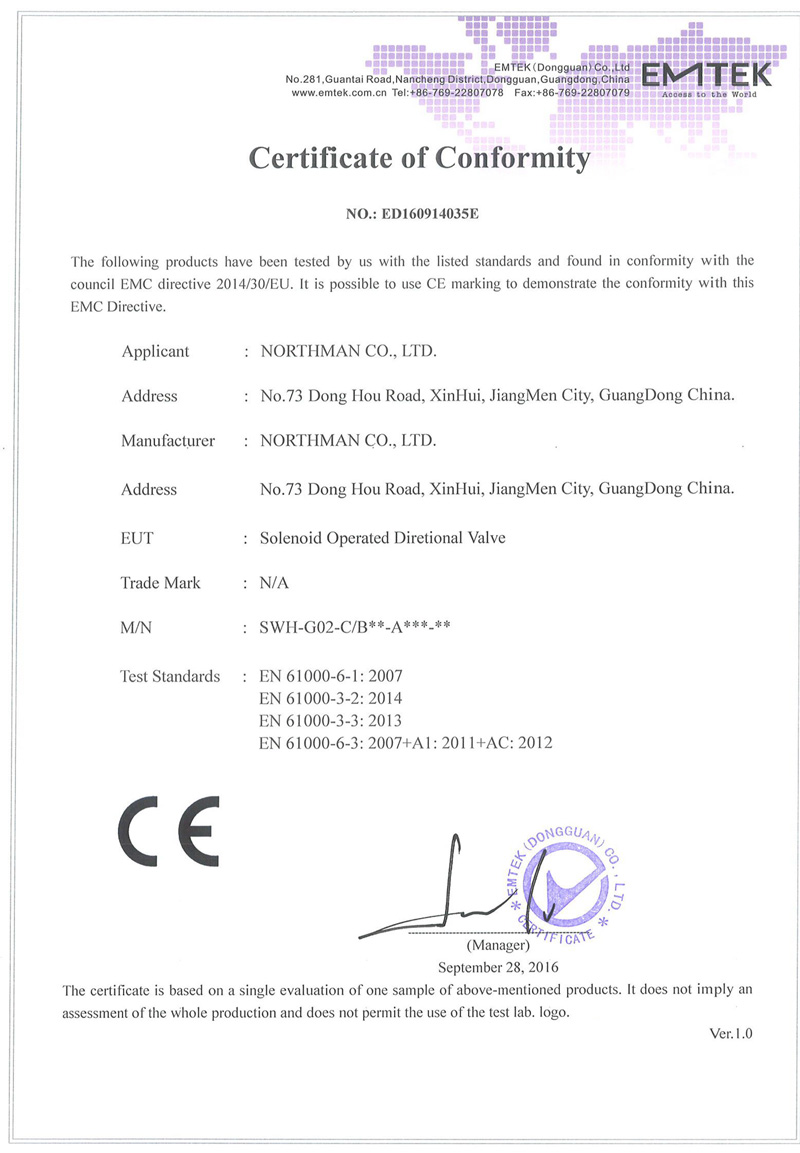 SWH-G02-AC电磁换向阀CE证书